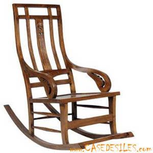 Case des iles - rocking chair en bois teck colonial  - Schaukelstuhl