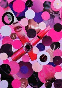 JOHANNA L COLLAGES - pink and purple desire 30x40cm - Zeitgenössische Gemälde