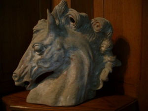 Hippocante - tête de cheval en bronze patine antique - Tierskulptur