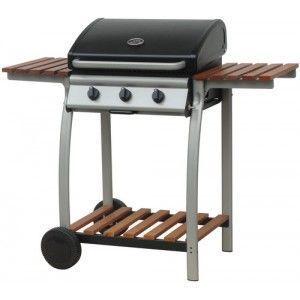 wood-en-stock - barbecue / plancha à gaz 3 bruleurs avec couvercle - Gasgrill