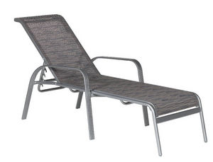 TRAUM GARTEN - bain de soleil gris en aluminium et textilène 189x - Garten Liegesthul