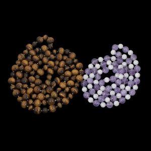 Expertissim - deux sautoirs en perles d'oeil de tigre, améthyst - Halskette