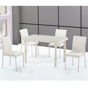 Smart Boutique Design - ensemble table en verre rectangle et ses 4 chaises - Rechteckiger Esstisch