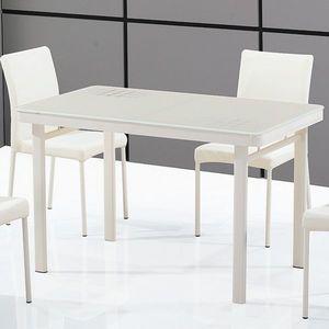 Smart Boutique Design - table en verre luna blanc crème - Rechteckiger Esstisch