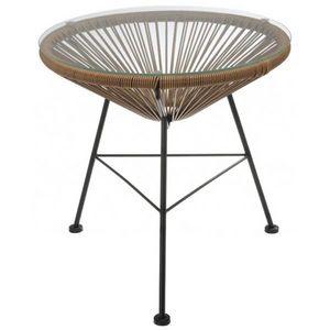 La Chaise Longue - table rotin et verre bahia - Beistelltisch