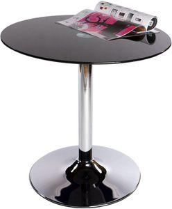 KOKOON DESIGN - table basse ronde en métal chromé et verre noir 70 - Beistelltisch