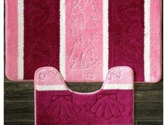 ILIAS - tapis salle de bain et toilette bicolore rose - Badematte