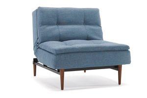 INNOVATION - fauteuil design dublexo bleu indigo piétement noye - Sitzkissen