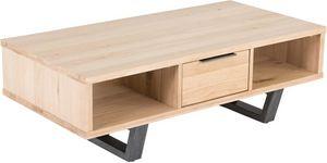 ZAGO - table basse chêne et métal brossé new - Rechteckiger Couchtisch