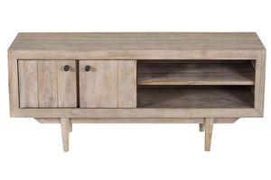 ZAGO - meuble tv avec niches de rangement en teck sablé - Hifi Möbel