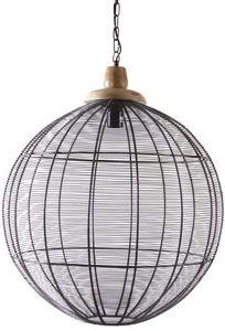 AUBRY GASPARD - suspension ronde en métal cuivré et bois - Deckenlampe Hängelampe