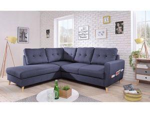 BOBOCHIC - canapé d'angle fixe l scandi bleu angle gauche - Andere Sofas