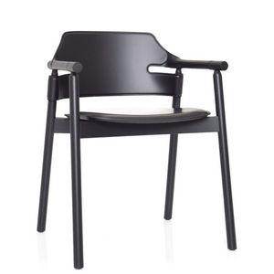Midj - suite - chaise à accoudoirs en cuir noir - Sessel