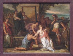 Galerie Emeric Hahn - le sacrifice de la fille de jephté - Ölgemelde Auf Leinwand Und Holztafel