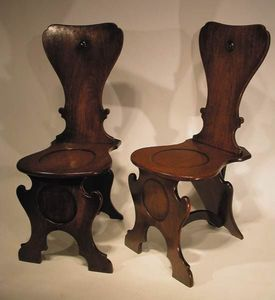 BAGGOTT CHURCH STREET - pair george 11 mahogany hall chairs - Stuhl