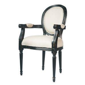 Maisons du monde - fauteuil lin louis - Medaillon Sessel