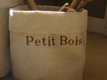 L'atelier D'anne - sac à bûches en toile beige petit bois - Aufbewahrungstasche