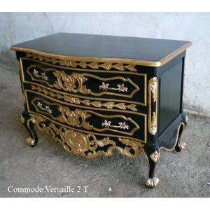 DECO PRIVE - commode baroque en bois noir et dore versailles - Kommode