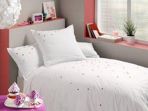 BLANC CERISE - housse de couette - percale (80 fils/cm²) - brodée - Kinder Bettbezug