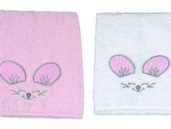 SIRETEX - SENSEI - drap de douche enfant 70x140cm en forme de souris  - Kinder Handtuch