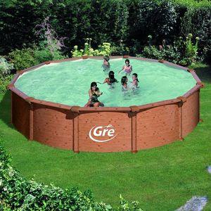 GRE - piscine ronde aspect bois mauritius 550 x 132 cm - Pool Mit Stahlohrkasten