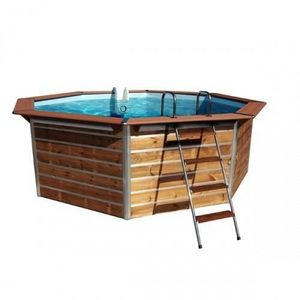 Christaline - piscine bois octogonale classique 460x129 cm - Pool Mit Holzumrandung
