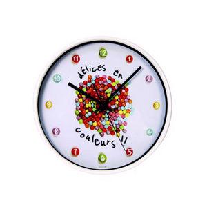 WHITE LABEL - horloge gourmande chiffres bonbons - Pendelwanduhr