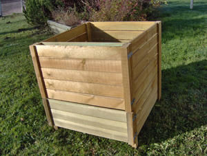 Sauvegarde58 - composteur 900 litres en pin traité 90x100x90cm - Kompost