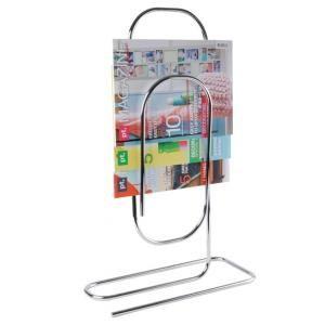 Present Time - porte-revues paperclip métal - couleur - argenté - Zeitungsständer