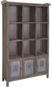 Aubry-Gaspard - bibliothèque 12 cases en pin et métal 90x30x150cm - Offene Bibliothek
