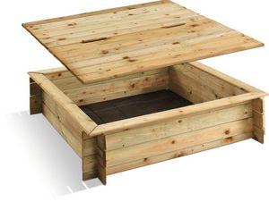 JARDIPOLYS - bac à sable carré en pin avec couvercle 120x120x25 - Sandkasten