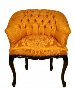 Demeure et Jardin - fauteuil crapaud damas ivoire - Crapaud Sessel