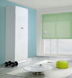 WHITE LABEL - armoire lit design kubic blanc mat, couchage 90 *  - Hochklappbares Bett