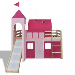 WHITE LABEL - lit mezzanine bois avec échelle toboggan et déco rose - Kinderbett