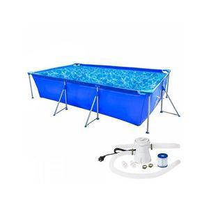 WHITE LABEL - piscine avec bâti et pompe 3937 litres - Pool Mit Stahlohrkasten