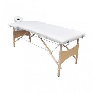 WHITE LABEL - table de massage 2 zones crème - Massagetisch