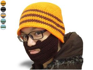 WHITE LABEL - drôle de bonnet à barbe rayé jaune et gris, barbe  - Mütze
