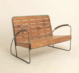 Mathi Design - banc vintage bois et metal - Bank