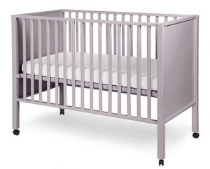 WHITE LABEL - lit bébé avec roulettes 60x120cm coloris gris - Baby Reisebett