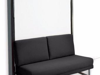 WHITE LABEL - armoire lit verticale magic structure wengé façade - Schrankbett
