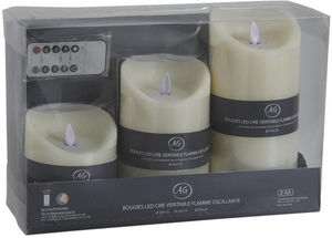 AUBRY GASPARD - coffret 3 bougies leds vanille avec télécommande - Falsche Elektrische Kerze