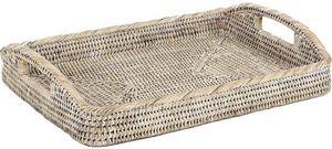 Aubry-Gaspard - plateau en rotin blanc - Tablett
