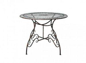 Demeure et Jardin - belle table ronde en fer forgé vert de gris - Gartentisch