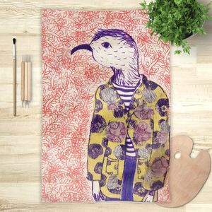 la Magie dans l'Image - foulard mon petit oiseau fond orange - Vierecktuch