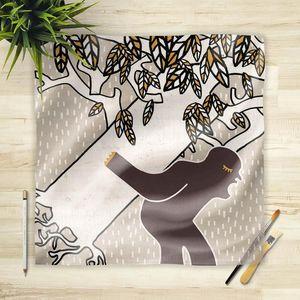 la Magie dans l'Image - foulard ogre arbre fond gris - Vierecktuch