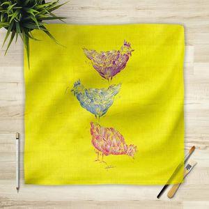 la Magie dans l'Image - foulard poules jaune - Vierecktuch