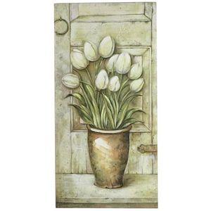 CHEMIN DE CAMPAGNE - tableau cadre en bois peint fleur mural 60x30 cm - Dekobilder