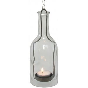 CHEMIN DE CAMPAGNE - lanterne bouteille à suspendre bougie en verre et  - Laterne