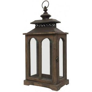 CHEMIN DE CAMPAGNE - style ancienne lanterne à bougie bois et fer 56 cm - Laterne