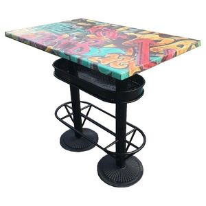Mathi Design - table haute industrielle 110 graffiti - Imbisstisch